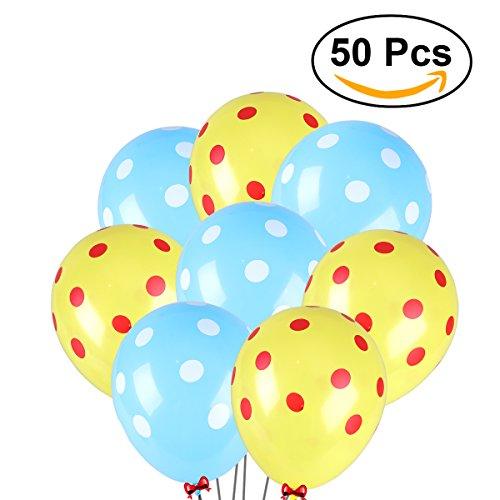 NUOLUX 50 piezas de látex de polka punta 12 pulgadas de globos para la decoración fiesta de cumpleaños de la boda (Azul Claro y Amarillo)