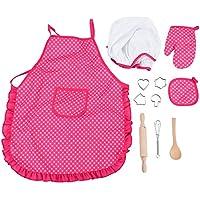 FTVOGUE Enfants Chef Set DIY Cuisine Cuisson Costume Jouets Set Faire Semblant Jouer des Vêtements Tablier Gants Chapeau Cuisinière