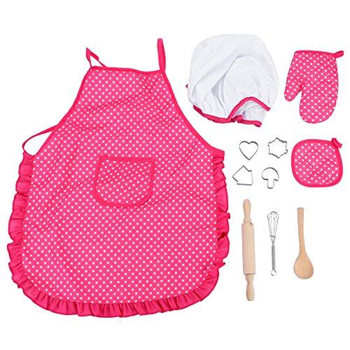 Kinder Küche Spielzeug Set DIY Kochen Backen Anzug Spielzeug Set Pretend Play Kleidung Schürze Handschuhe Hut Herd mit Utensilien für Mädchen Kindertag Geschenk