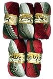 5 x 100 g Alize Strickwolle mehrfarbig mit Farbverlauf, 500 Gramm Strickgarn mit 20% Wolle-Anteil (rot braun beige weiß 1984)
