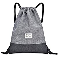Cosyres Drawstring Backpack PE Sports Bag Gymsack for Women/Men with Zip Pocket (Grey)