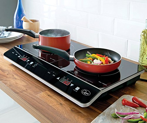 51TjJ9usFeL - Quest 35840 Digital Induction Hob Hot Plate with 10 Temperature Settings and Touch Control, Double, 2800 W, Black