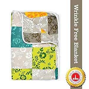Divine Casa Natty Abstract Microfibre Reversible Single Dohar/Blanket - Lime Green and Yellow