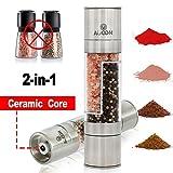 Macina sale e pepe ,2in 1manuale doppio sale e pepe shaker con nucleo in ceramica, macina per spezie in acciaio INOX commestibile–macinapepe by Auoon, acciaio inox, 2-in-1, Double-ended