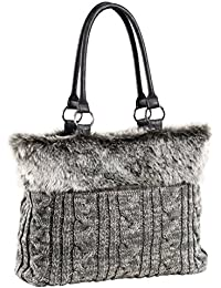Felltasche - 50cmx40cmx12cm - Handtasche mit Strick - Farbe Grau