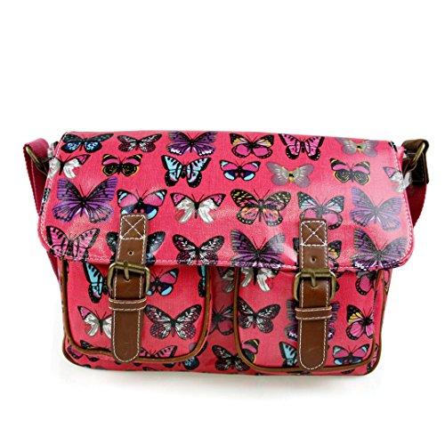 Miss Lulu , Damen Umhängetasche Einheitsgröße Butterfly Bag Plum