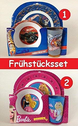 2-tlg Set Barbie Hot Wheels Trinkflasche + Brotdose Frühstücksset Frühstück Set (1-Hot -