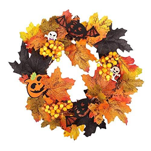 Alextry Halloween Requisiten Blatt Kranz Herbst Ahorn Kürbis Beeren Girlande Haustür Heim Wand Dekoration -