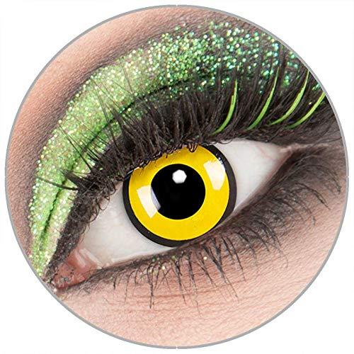 Farbige gelb schwarze 'Black Yellow' Kontaktlinsen ohne Stärke 1 Paar Crazy Fun Kontaktlinsen mit Behälter zu Fasching Karneval Halloween - Topqualität von 'Giftauge'