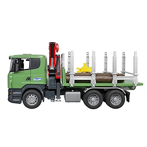 Image of Bruder Scania R-Series Timber Truck with Loading Crane and Trunks