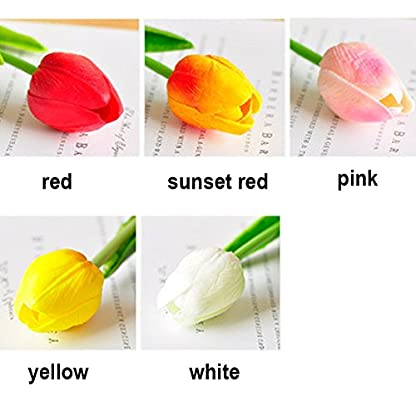 Ramo de flores artificiales, ramo de tulipanes de flores artificiales de tacto real, decoración del hogar (blanco)