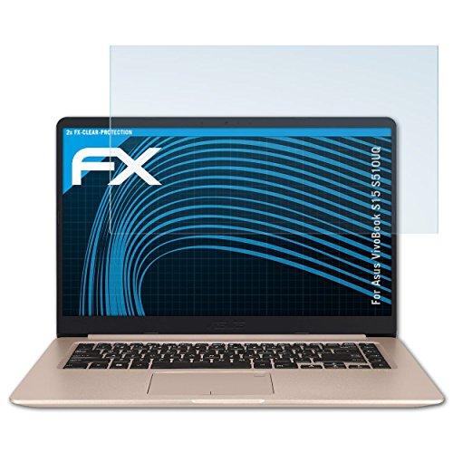 atFolix Schutzfolie kompatibel mit Asus VivoBook S15 S510UQ Folie, ultraklare FX Bildschirmschutzfolie (2X)