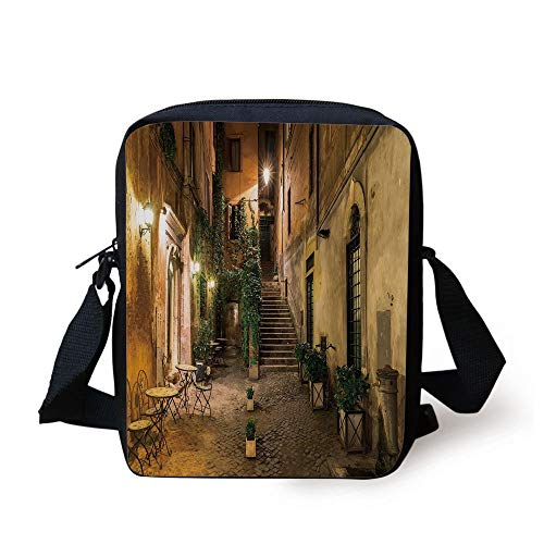 WITHY Italian Decor,Old Courtyard in Rome Italy Cafe Chairs City Ambience Houses Street Decorative,Orange Brown Green Print Kids Crossbody Messenger Bag Purse -