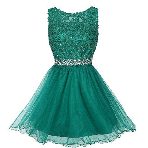 Drasawee Damen A-Linie Kleid Grün