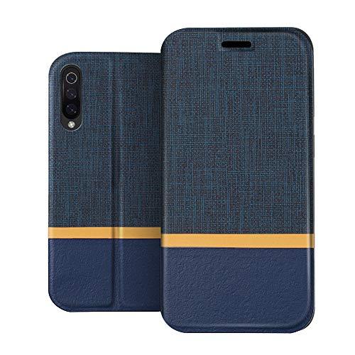 RIFFUE Funda Xiaomi Mi 9 SE, Carcasa Delgada Libro de Cuero con Tapa Cartera de Ranura y Billetera Elegante Case Cover para Mi 9 SE - Azul