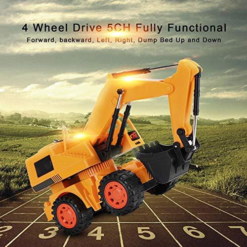 RC Auto kaufen Baufahrzeug Bild 6: Dilwe RC Bagger, 5CH Full Functional Fernbedienung Bagger Baufahrzeug Bagger Traktor*