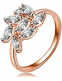 bbf2f658502d SonMo Anillo Oro Blanco con Diamantes de Circle Anillo de Compromiso En Oro  Anillo de Chapado