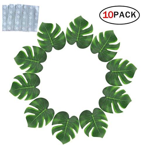 Asien Artificial Palmbl?tter - Tropische Kleine Palmenbl?tter mit Dot-Kleber für Hawaiian Luau Party Dekoration, Dschungel-Strand-Party-Versorgung für Tischdekoration Zubeh?r 10 PCS