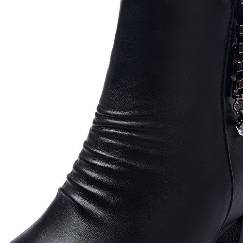 Puro VogueZone009 con Altezza Stivali Donna Bassa Basso Cerniera Tacco Nero Metallo ATrxn8qIrw