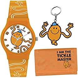 Mr Men and Little Miss Boy's Quartz Watch with White Dial Analogue Display and Orange PU Strap LM0007SET