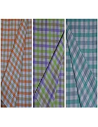 KUNDAN SULZ GWALIOR Men's Exclusive Soft and Smooth Cotton Blended Un-Stitch Shirt Pieces in Checks Pattern (Pack of 3 Shirt Pieces)