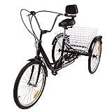 Iglobalbuy 24 '6 Velocidades 3 Ruedas Triciclo Bicicleta de Dos Ruedas Pedal de Ciclismo con Cesta Trasera para la Compra