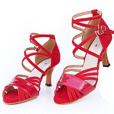 Silence @ Chaussures de danse pour femme Flocage Flocage Latin Sandales Talon évasé Practise débutant Professional Intérieur ou extérieur Performance Rouge Red