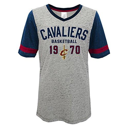 Outerstuff Teen-Girls NBA Cavaliers Junior Short Sleeve Fußball Burnout Tee, Short Sleeve Football Burnout Tee, grau meliert -