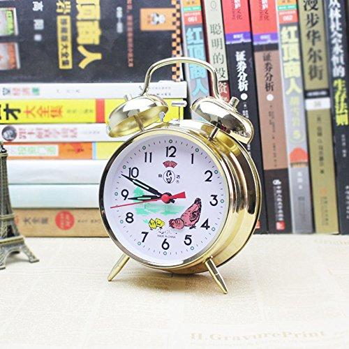 LTOOD Simple Moda nostálgica Despertador nostálgico dormitorio estudiantil creativo super ruidoso cuadro metal viejo reloj alarma,Medio Gallo a comer arroz