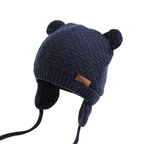 tze Jungen Mädchen Winter Baumwollmütze Hüte Mütze Unisex Niedlich Bär Beanie Kinderhut-TAIYCYXGAN (Dunkelblau, L/ 2-3 Jahre) (Winter Mützen Für Kinder)