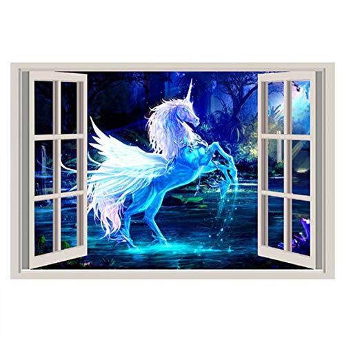 Dokfh 3D Etiqueta de la Pared 60X90Cm 3D Ventana Unicornio Caballo Pegatinas de Pared para Niños Habitaciones Sala de Estar Dormitorio Tatuajes de Pared Poster Mural Sofá Decoración de La Pared