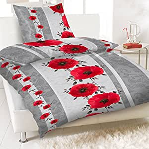 linon baumwoll bettw sche 135x200 4 tlg floral blumen streifen rot k che haushalt. Black Bedroom Furniture Sets. Home Design Ideas