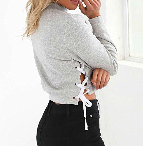 Frauen Lange Ärmel Rundhals Hemden Bauchfreies Schlitz Sweatshirt Kurz Pullover Volltonfarbe Bauchfrei Midriff-Baring Tops Grau