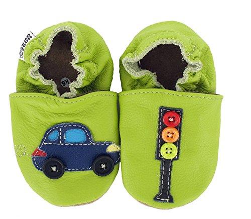 HOBEA-Germany  Krabbelschuhe Auto mit Ampel, Chaussons pour enfant mixte bébé Vert (grün)