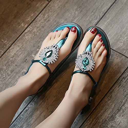 GTVERNH-verde estate i sandali le donne sono piatte scarpe con tacchi una fibbia della cintura di pizzicare beach scarpe,40 Thirty-five