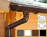 Dachrinnen/ Regenrinnen Set | Pultdach (1 Dachseite) | Extra100 | in anthrazit, weiß, braun oder schwarz! (Komplettes Set bis 8.75 m, Braun)