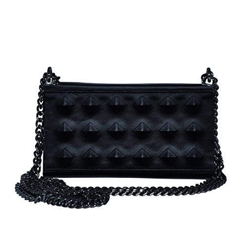 Premium iPhone 6 / 7 / 8 Hülle Leder zum Umhängen | 2 in 1 Luxus Handyhülle und Etui für Apple | Handtasche mit Kartenschlitz | Schutz vor Staub Case | Studs Leather Black | Foldy Bag 7 | O.JACKY (Handtasche Stud)