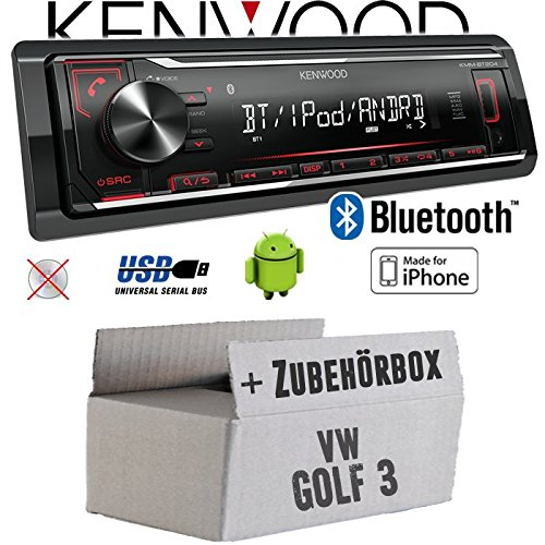 VW Golf 3 III - Autoradio Radio Kenwood KMM-BT204 - Bluetooth | MP3 | USB | iPhone - Android - Einbauzubehör - Einbauset