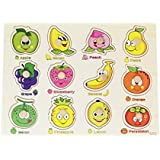 Parteet Wooden Colorful Learning Fruits Board For Kids With Knobs, Educational Learning Wooden Tray