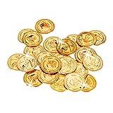 Relaxdays Goldtaler Piraten, Piratenschatz aus 288 Münzen, Plastik Spielgeld für Kindergeburtstage & Fasching, PP, gold