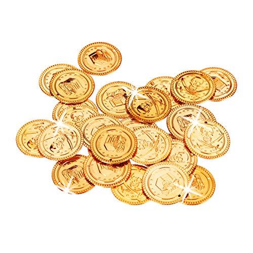 Relaxdays Goldtaler Piraten, Piratenschatz aus 288 Münzen, Plastik Spielgeld für Kindergeburtstage & Fasching, PP, - Schatztruhe Piraten Kostüm
