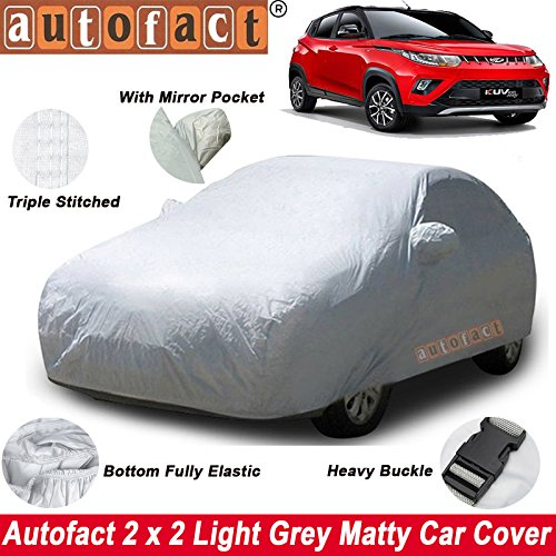 Autofact Mahindra KUV100 Car Accessories - Car Body Cover with Mirror Pockets (Triple Stitched/Bottom Fully Elastic/Light Grey 2 X 2 Matty)