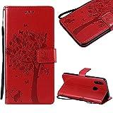 CESTOR Brieftasche Hülle für Huawei Honor 10 Lite,Premium Rot Retro Katzen und Baum Muster mit Faltbar Stand und Halter Kreditkarte Slots Magnetverschluss Flip Cover für Huawei P Smart 2019