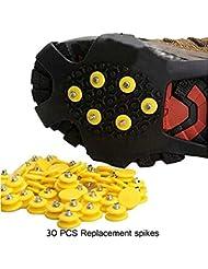 30 Pcs Universal Anti-dérapant Remplacement rechange Neige Crampons à Glace Traction S'adapter à n'importe quelle taille de Chaussures pour Randonnée de haute Altitude/Ski de neige antidérapant
