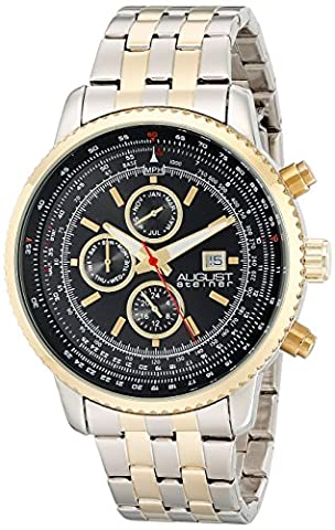 August Steiner Men's Quartz Watch with Black Dial Analogue Display and Two Tone Stainless Steel Bracelet AS8162TTG