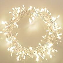 100 LED Catene Luminose Esterno a Batteria (8 Modalità, Luminosità Regolabile, IP65, Bianco Caldo) - Prova Perfetta