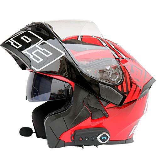 Mr·J Motorradhelm Gesamthelm Damen und Herren Klapphelm Helm mit Bluetooth ECE Test Doppelziel Roller Chopper Sport Motorradhelm,L