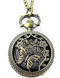 Forest Bronze Classic Vintage Retro Antique Beautiful Butterfly With Flowers Chain Pocket - Necklace Watch (POW-0047)