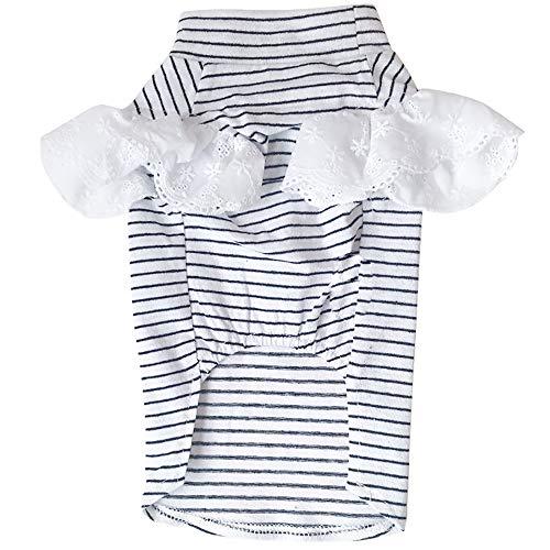 CYULING Dog Striped Kleidung, Dog Striped Kleidung Haustier T-Shirt Hund Baumwollhemden für kleine Hunde Haustier Hundekleidung Plain Striped T-Shirt Welpen T-Shirts für kleine Hunde,XL (Hunde T-shirt Plain)