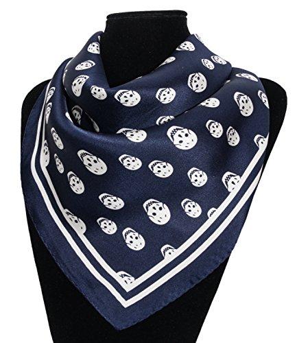 Silk Fedora Pañuelo de Seda 53x53. Estampado Calavera blanca sobre fondo azul oscuro